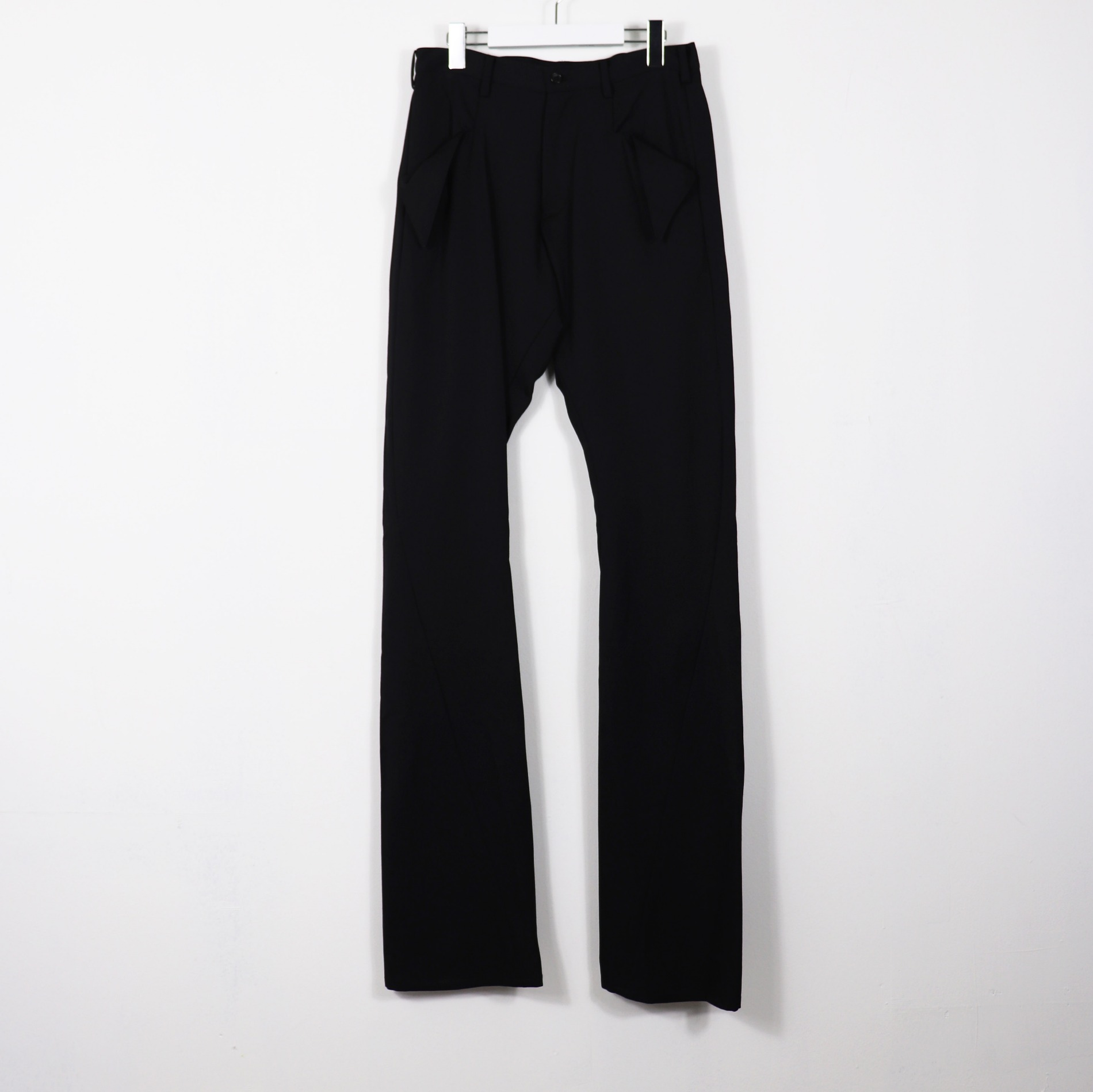 AW20 SULVAM GABARDINE BOOT CUT PANTS BLACK