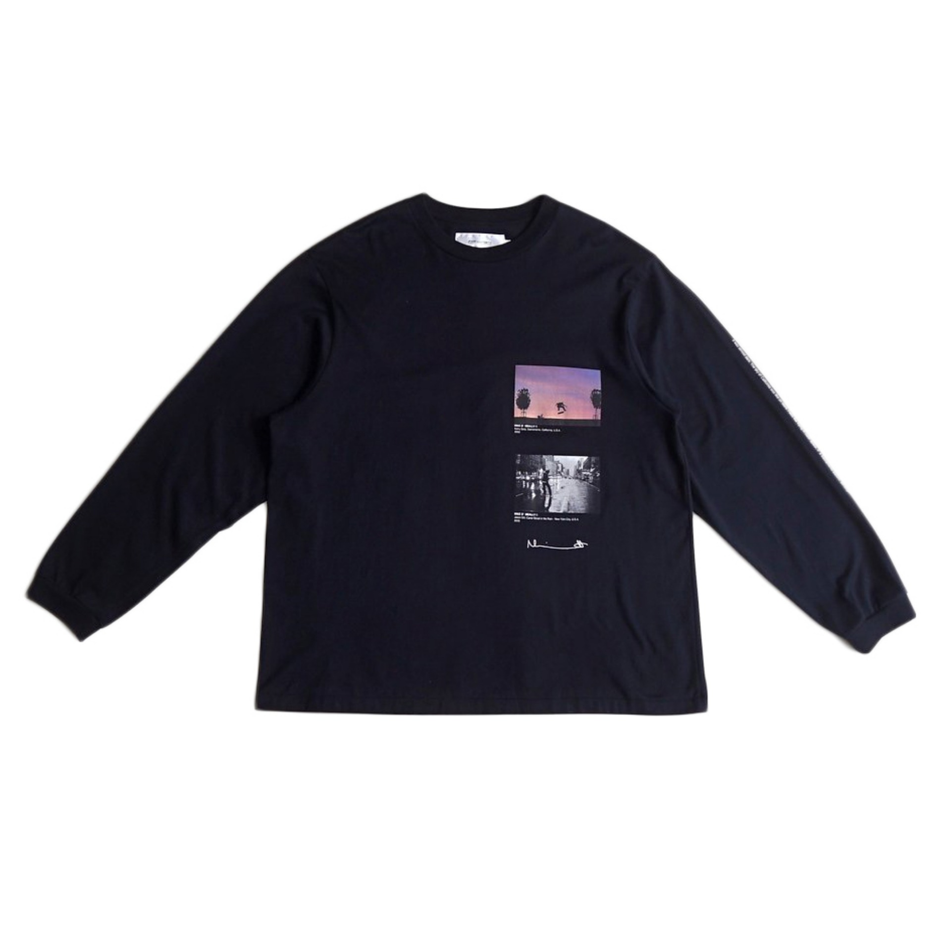 AW20 JOHN MASON SMITH KERRY GETZ & JASON DULL CANAL STREET IN THE RAIN L/S T-SHIRTS BLACK