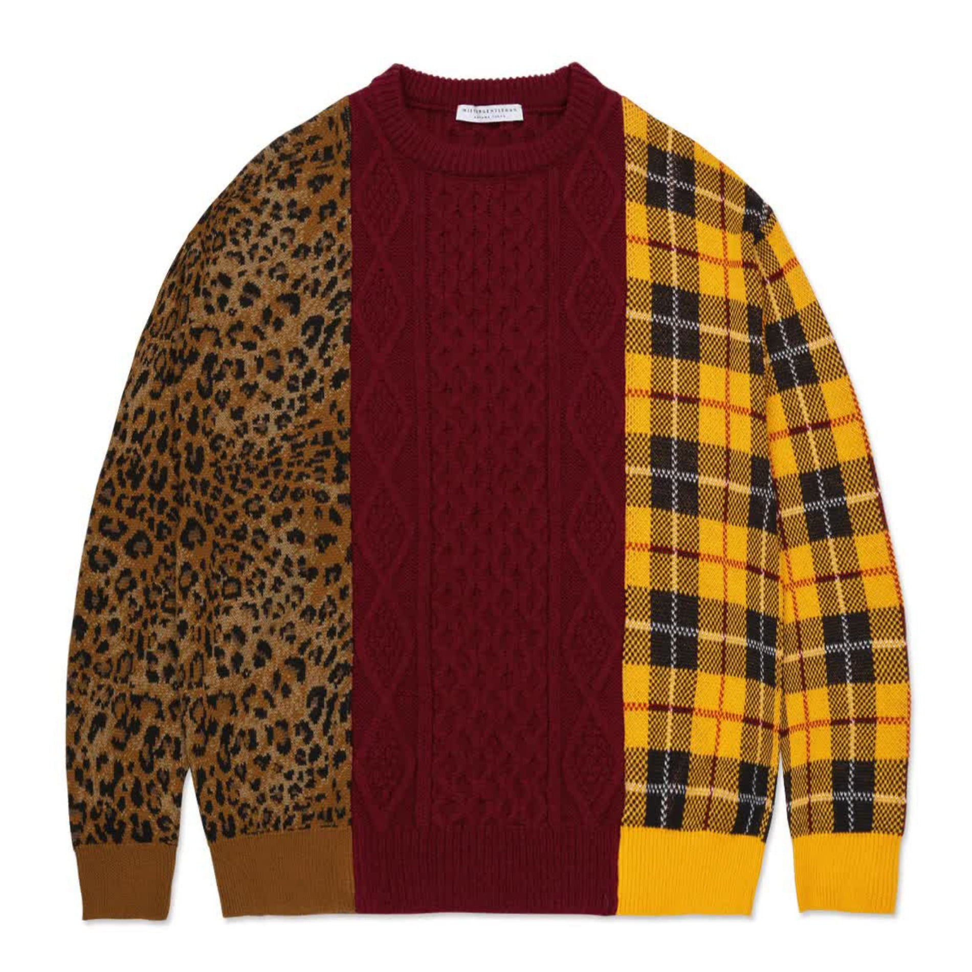 AW20 MISTER GENTLEMAN MIX PATTERN KNIT RED MIX