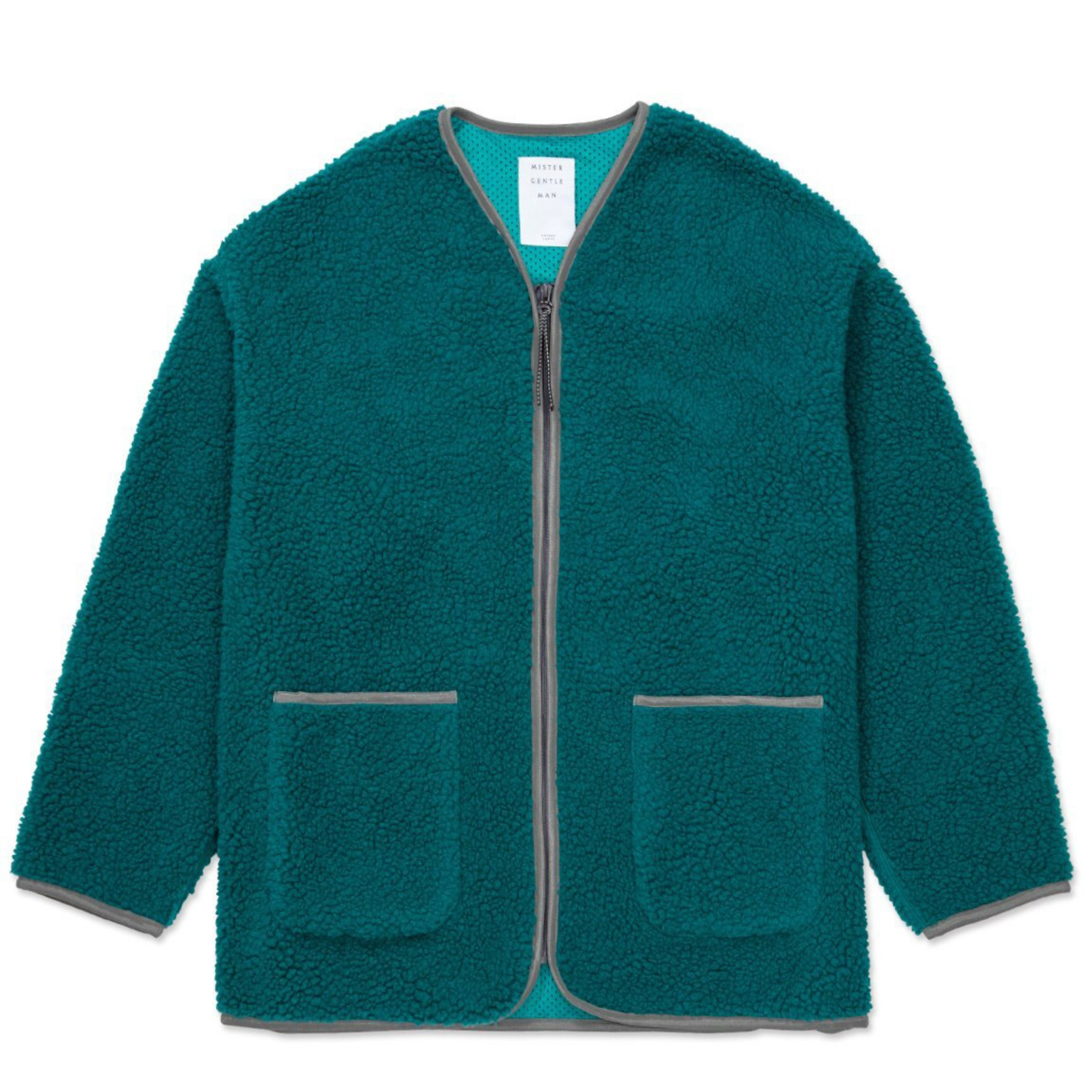 AW20 MISTER GENTLEMAN BOA FLEECE ZIP UP JACKET BLUE GREEN