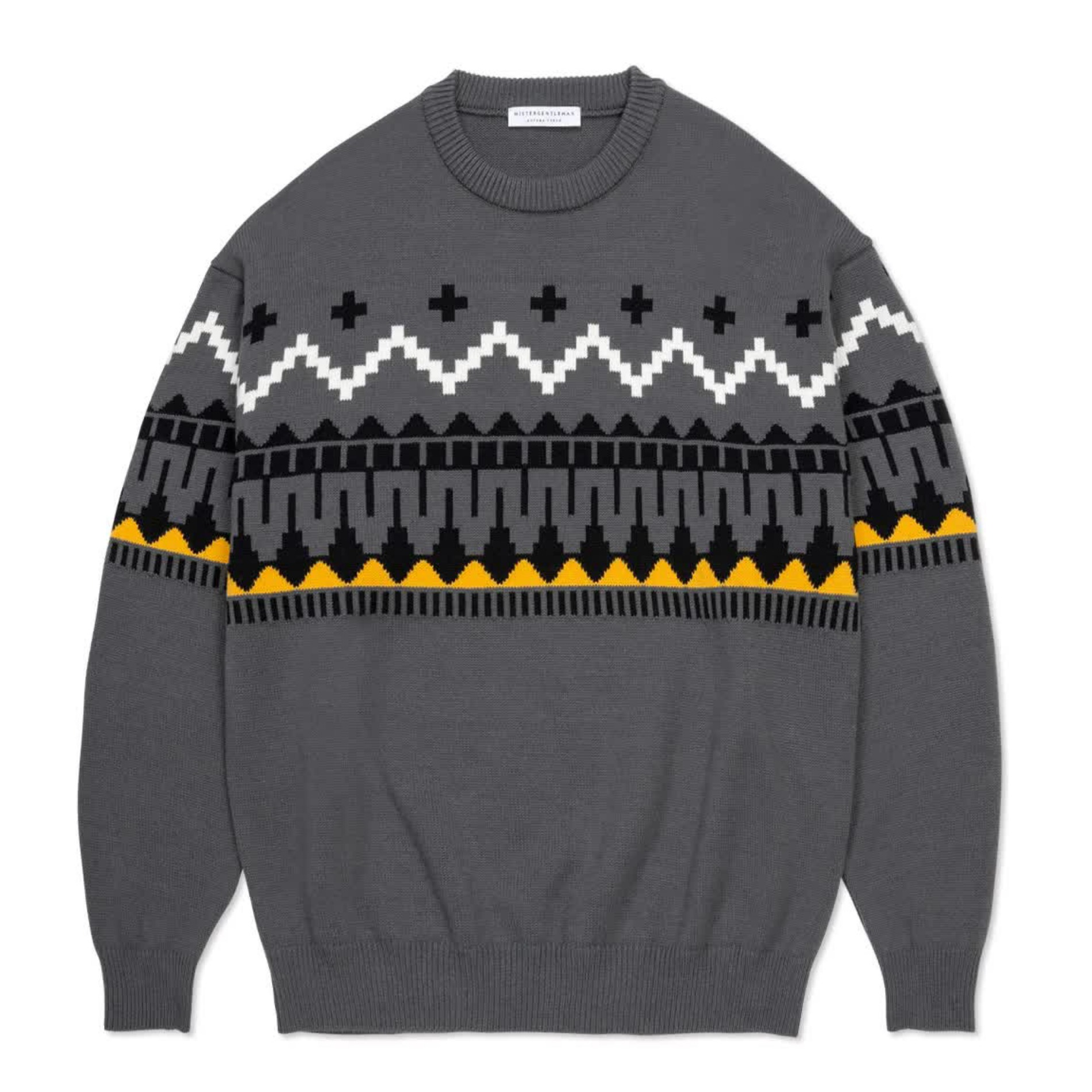 AW20 MISTER GENTLEMAN FAIR ISLE KNIT GREY