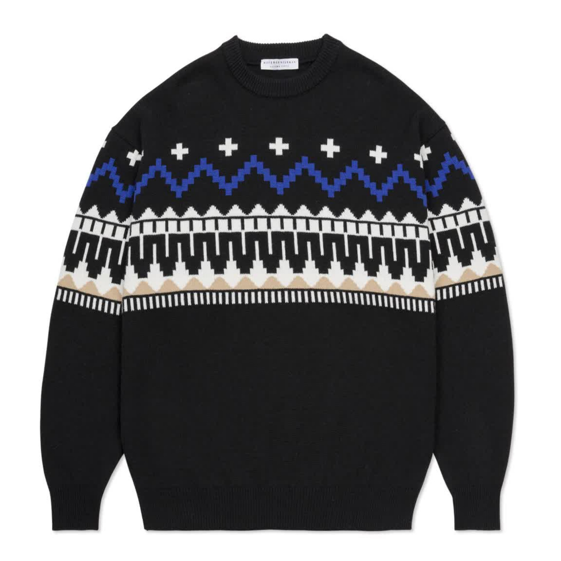 AW20 MISTER GENTLEMAN FAIR ISLE KNIT BLACK